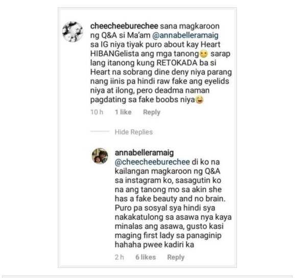 Annabelle Rama allegedly responds to a netizen about Heart Evangelista