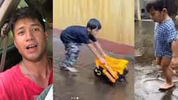 Videos ni Aljur Abrenica at mga anak na naliligo sa ulan, viral