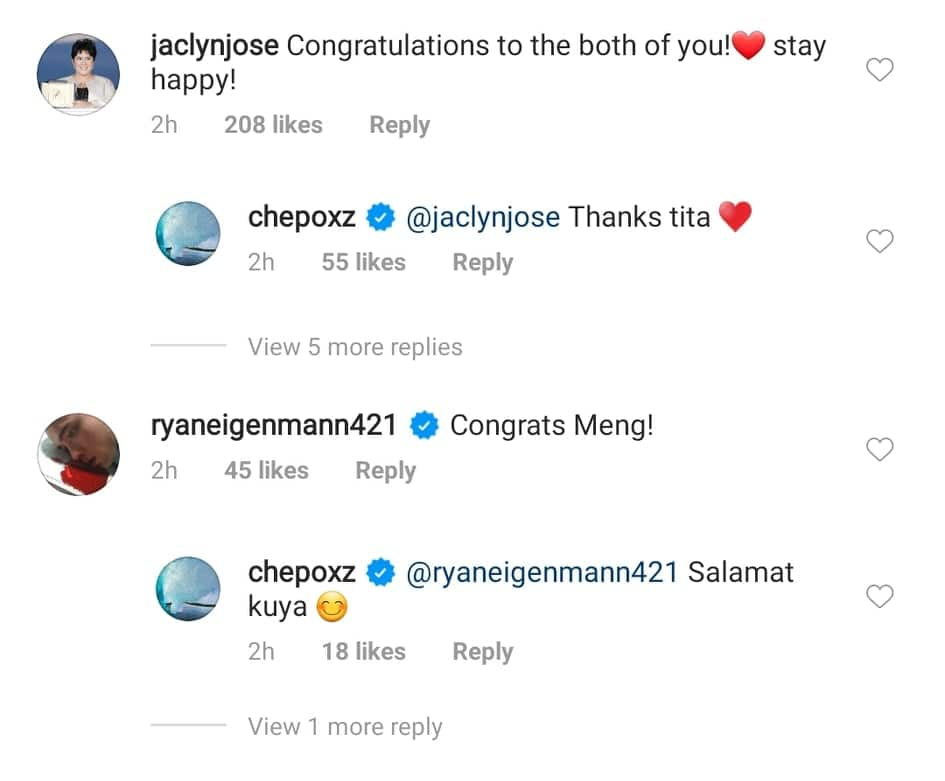 Jaclyn Jose congratulates Philmar Alipayo and her daughter Andi Eigenmann on their engagement