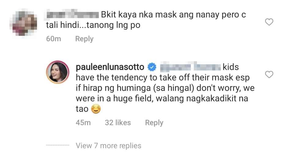 Pauleen Luna, sinagot ang netizen na pumuna sa hindi pagsuot ni baby Tali ng mask