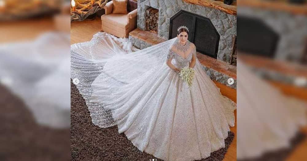 Ara Mina, kabogera ang peg sa mala-prinsesang wedding gown gawa ni Leo Almodal