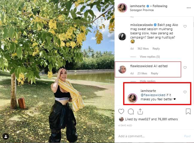 Heart Evangelista, sinagot ang isang netizen na nagsabing edited lang ang picture ng kanyang pagpapawis