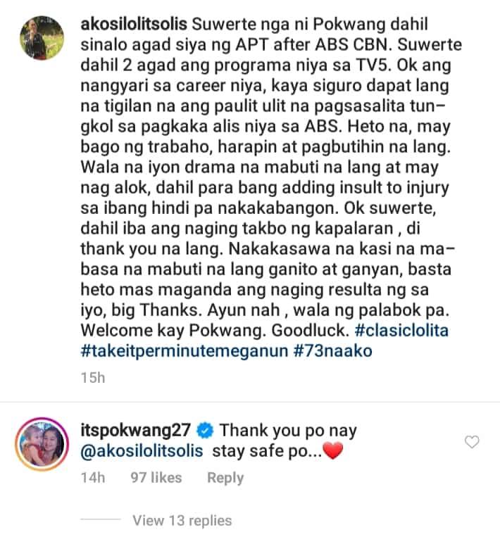 "Lolit Solis calls Pokwang ""suwerte"" amid bashings she gets for leaving ABS-CBN"