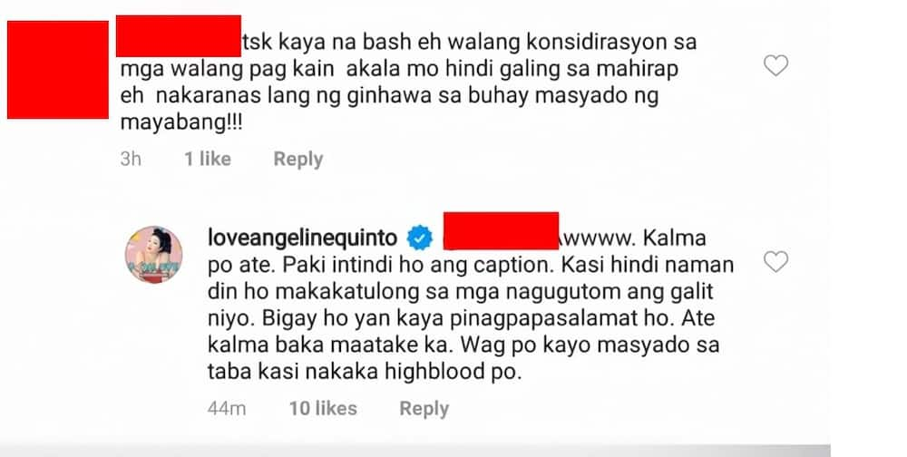 Angeline Quinto responds to 'masyado ng mayabang' comment of a netizen