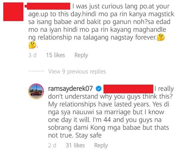 Derek Ramsay lectures netizen who slammed him for his failed relationships
