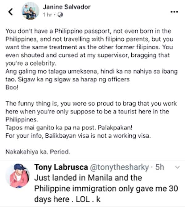 NAIA immigration officers, nilampaso kabastusan ni Tony Labrusca, 'Just abs, no manners'
