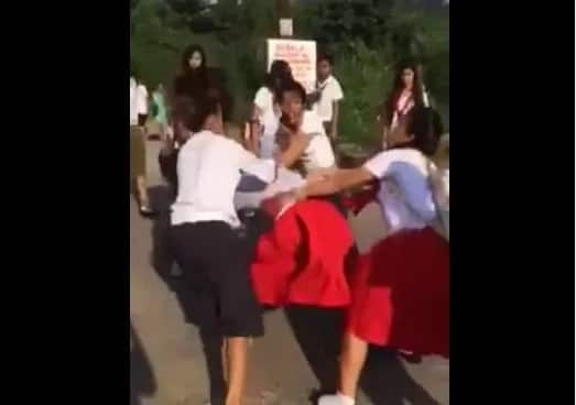 A group of students in Olongapo violently beats helpless girl