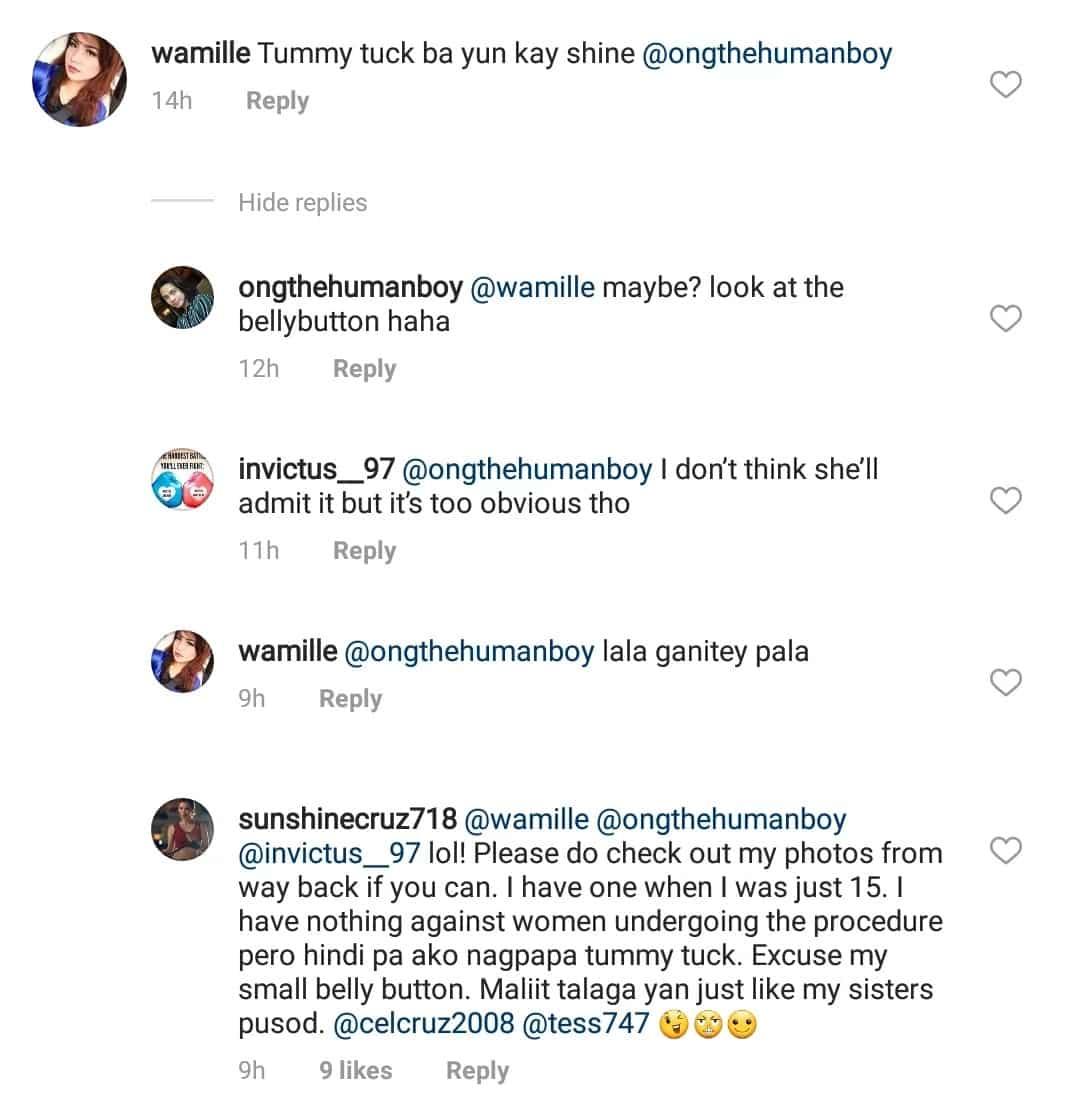 Sunshine Cruz tells netizens she did not go through the knife to achieve body