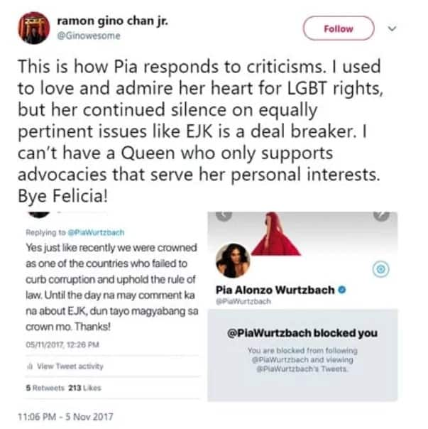 Pia Wurtzbach draws flak for blocking Twitter users who commented about EJK