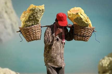 Sulfur mining in Indonesia: 'Toughest job by the toughest men in the world'