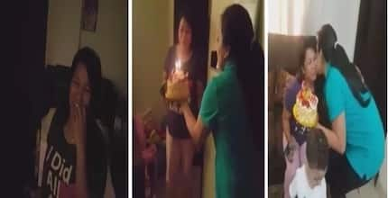 OFW in Kuwait surprised during her birthday, employers treat her like family and buy her gifts and cake