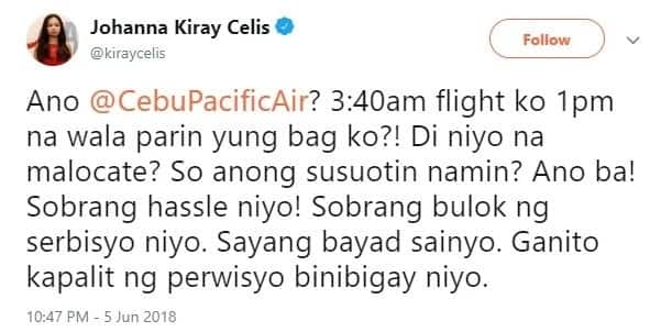 Kiray Celis furiously rants against Cebu Pacific, airline pays 3K for missing luggage