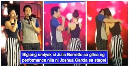 Nasasaktan pa rin? Julia Barretto, umiyak habang kumakanta sa stage kasama si Joshua Garcia
