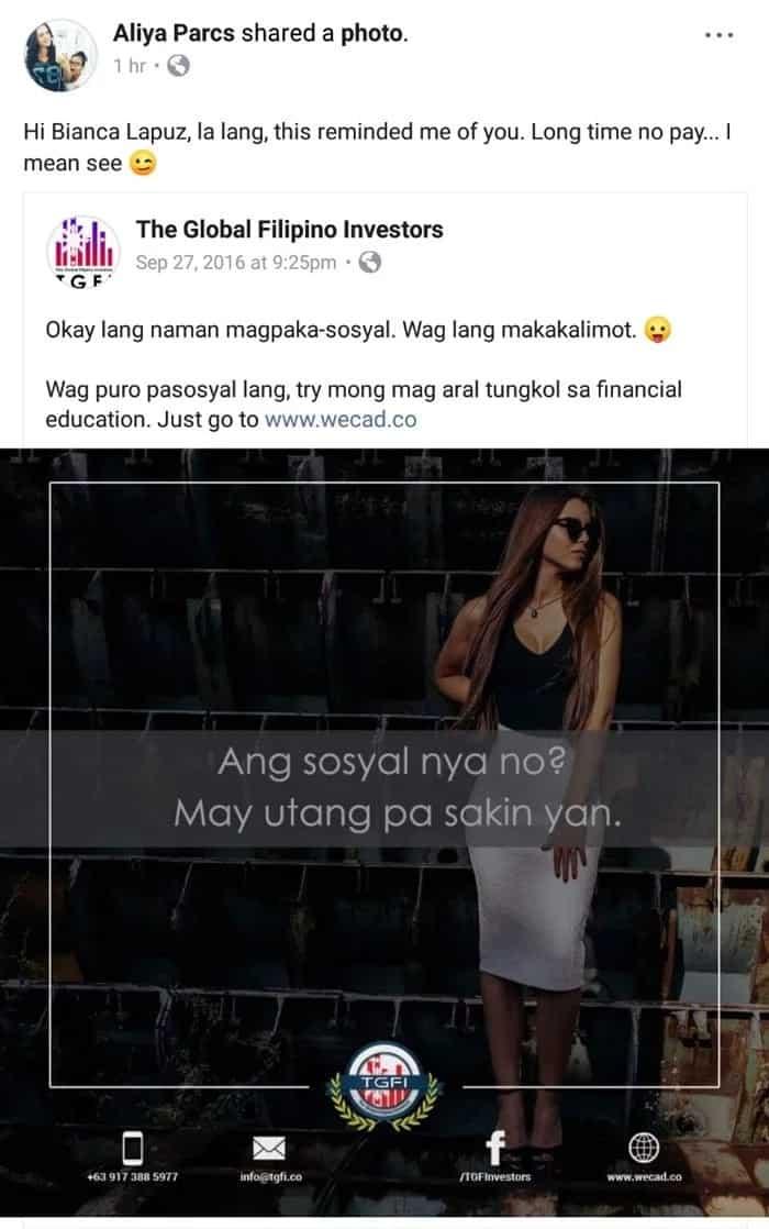 'May utang pa sakin yan' Aliya Parcs accuses Bianca Lapuz of paying her with P130K worth bounced checks