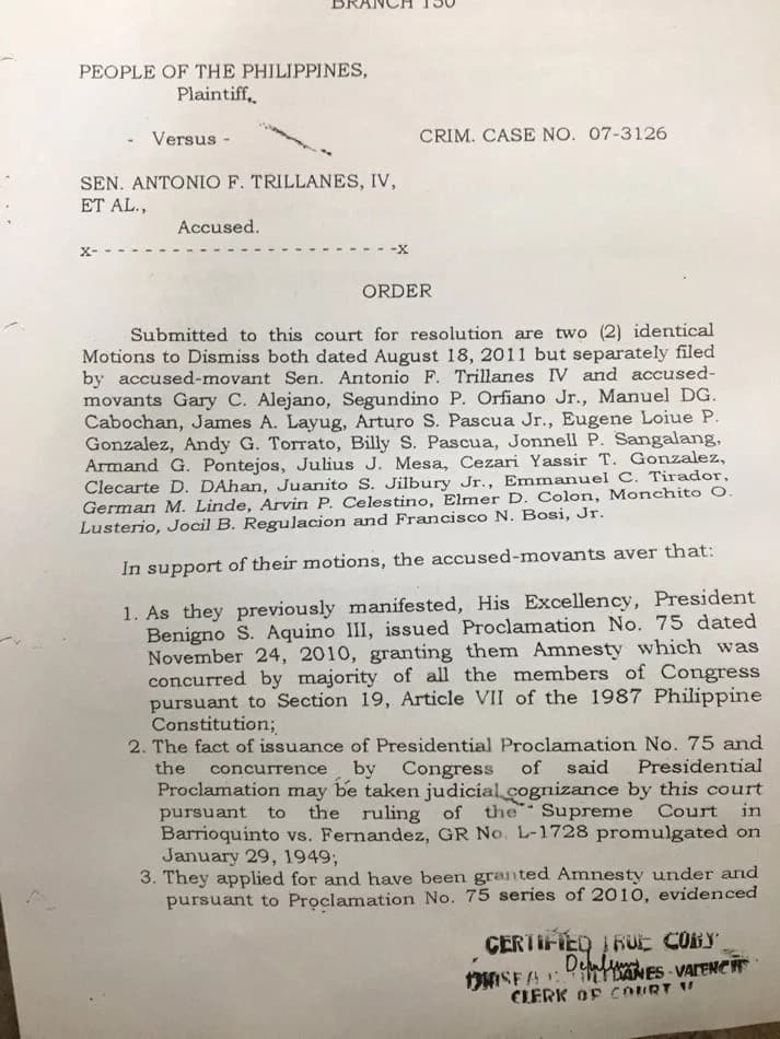 Trillanes presents his evidence of applying for amnesty in 2011