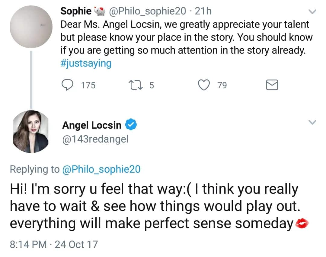 Angel Locsin tells netizen to wait for how the story unfolds