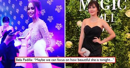 Wag nega! Bela Padilla rescues Arci Muñoz from prying questions of reporters concerning her alleged 'plastic surgery'