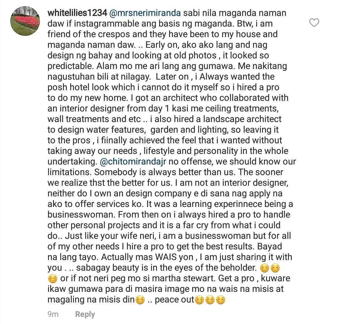 Netizen na nanglait sa bahay, daig pa ang interior designer! Chito and Neri Miranda engages basher of their home