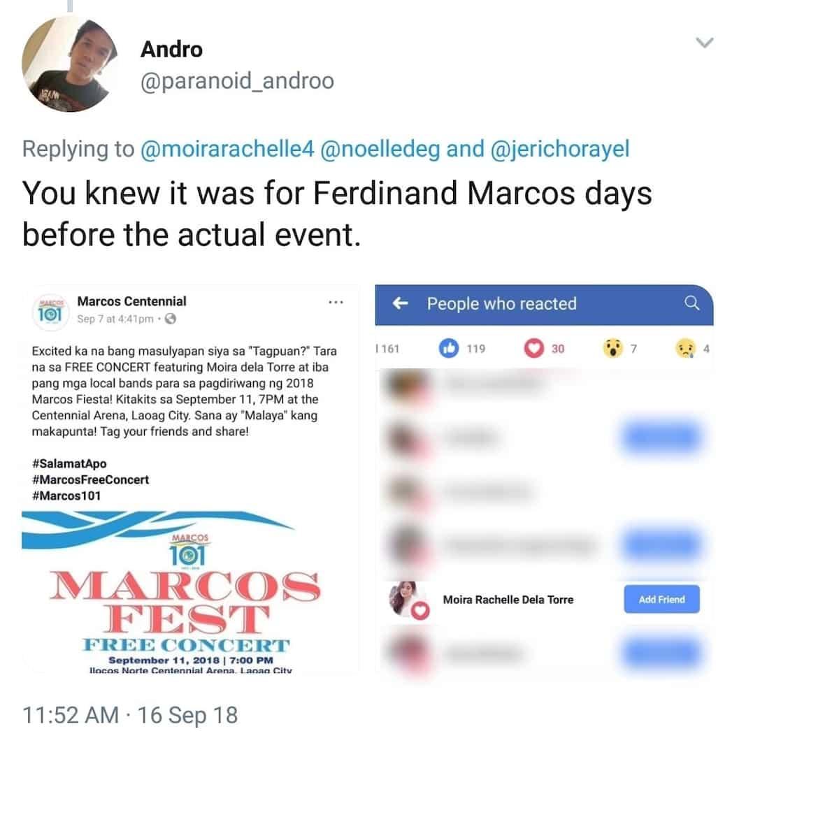 Moira dela Torre slammed for denying knowledge of performing at 'Marcos Fest'