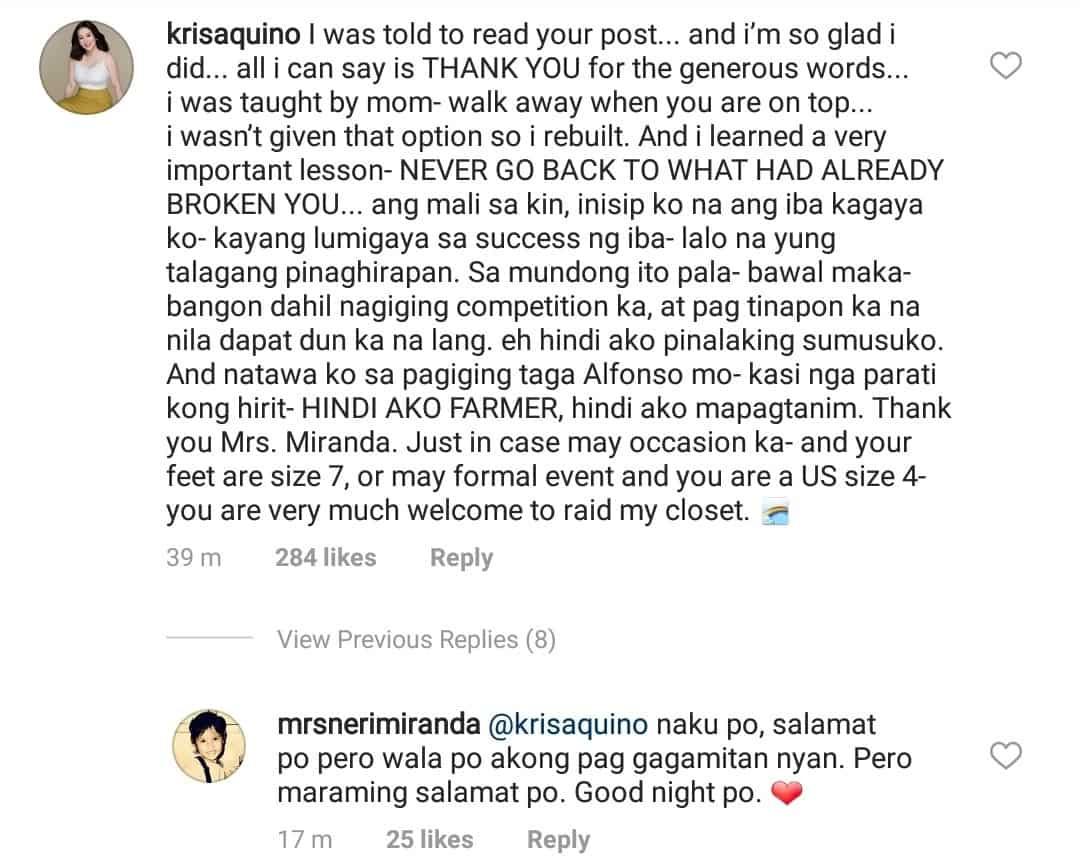 Neri Naig, pinuri ng todo si Kris Aquino sa social media; Kris, may bonggang alok naman kay Neri