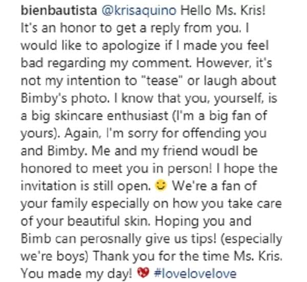 Maganda lang daw talaga ang kutis nila! Kris Aquino responds to netizen who asked about the 'beauty effect' she used in Bimby's photo