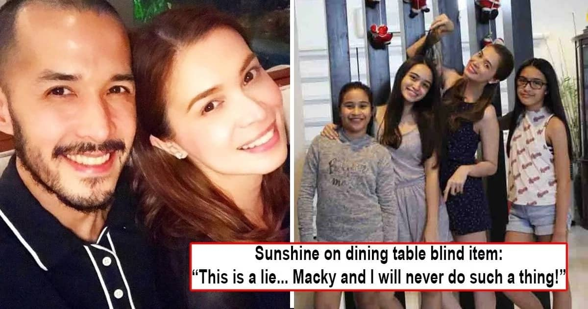 Sunshine Cruz Says Dining Table Blind Item Does Not Pertain To Her