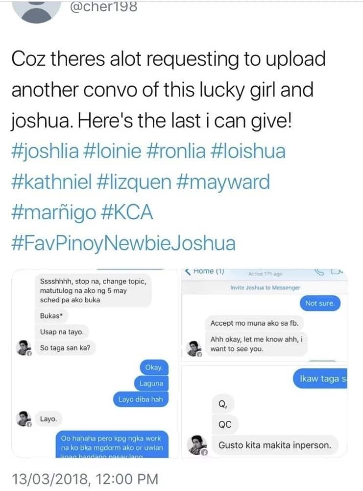 Nagtaksil daw kay Julia? Joshua Garcia allegedly sends private messages to a female netizen so that they could meet