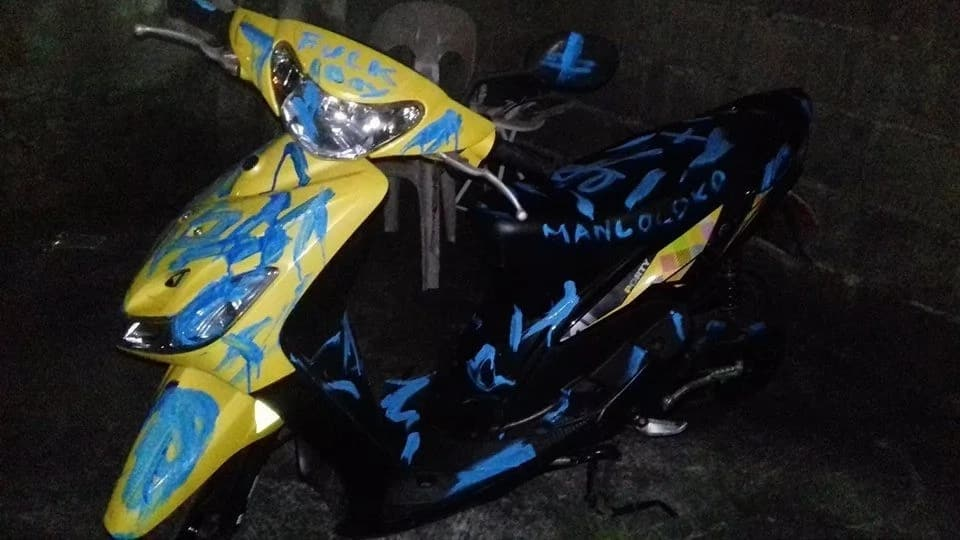 Girlfriend exacts perfect revenge against cheating boyfriend by painting his motorcycle
