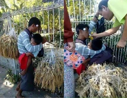 Poor father breaks heart after passing out on the street while carrying his son and working for a living