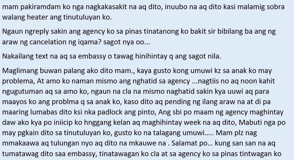 Isang OFW sa Kuwait ang humihingi ng tulong para makauwi ng Pilipinas