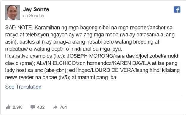 """Nakakagulantang! Jay Sonza nagpangalan ng mga personalidad sa news na diumano'y """"bastos"""""""