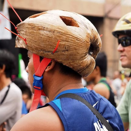 Tatak Pinoy! Biker in Davao who uses coconut husk as helmet goes viral on social media