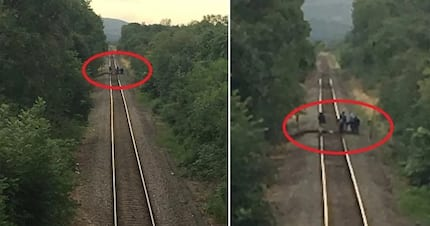 Train literally jumps in the air thanks to these jokers