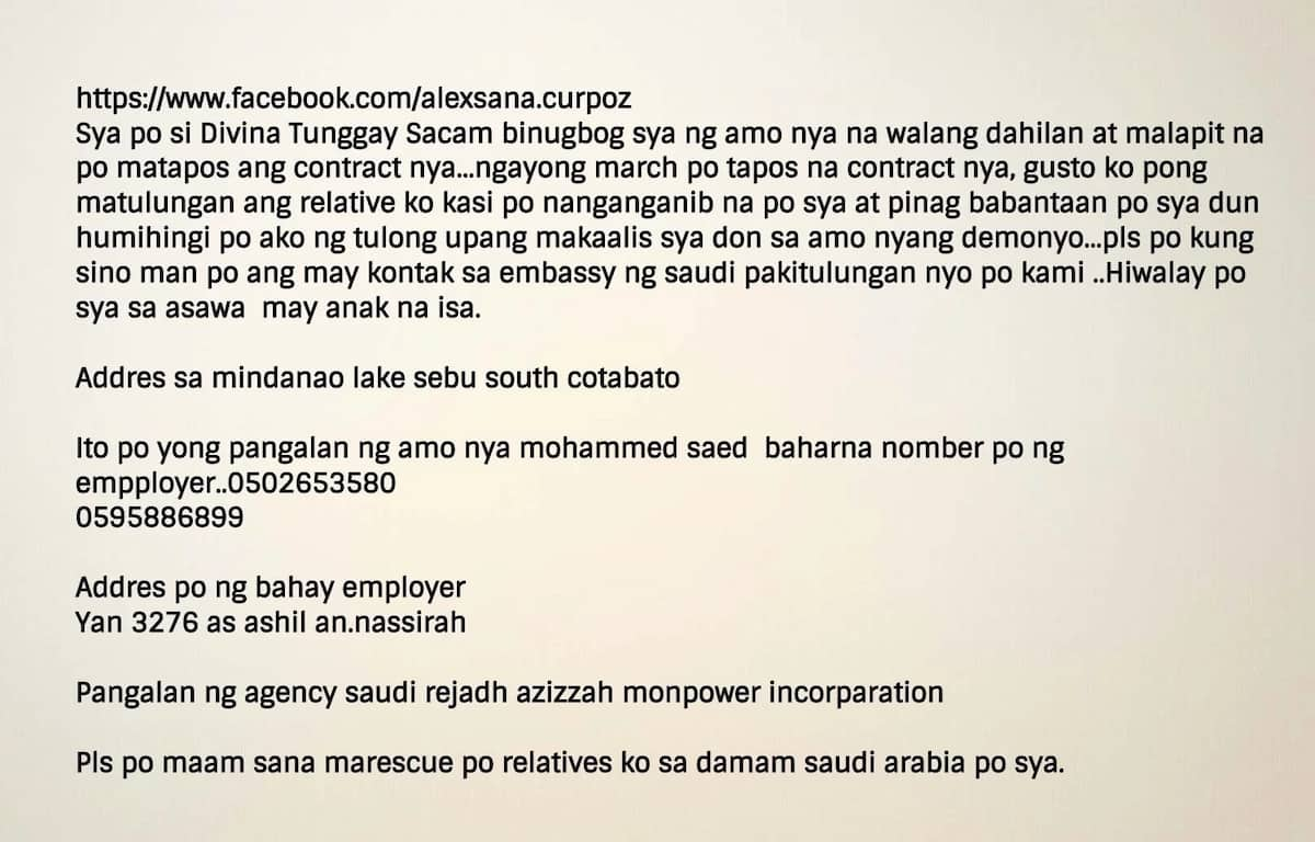 Kailangan ng tulong! Relative seeks help to rescue an OFW from her employer in Saudi Arabia