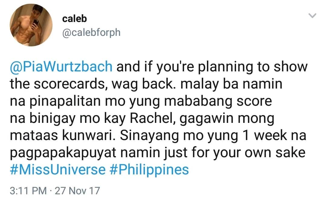 Nagsisihan na! Netizens accuses Pia Wurtzbach for Rachel Peters' unsuccessful Top 5 entry in the Miss Universe 2017
