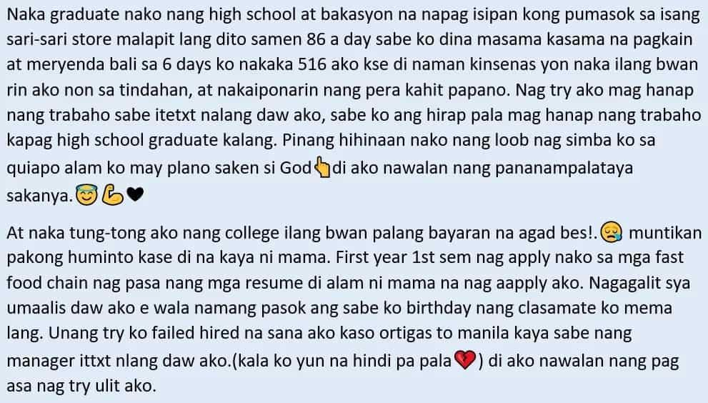 Sipag at tiyaga ang puhunan! Inspiring story of a working student and how he managed to juggle his job and studies