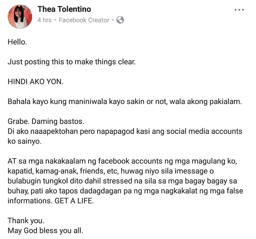 Imbyerna si Thea Tolentino sa nagkakalat na diumano'y may scandal video siya
