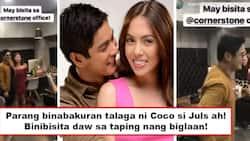 Pagiging sweet o binabakuran si Julz? Coco Martin visits Julia Montes during taping and Cornerstone office staff go crazy