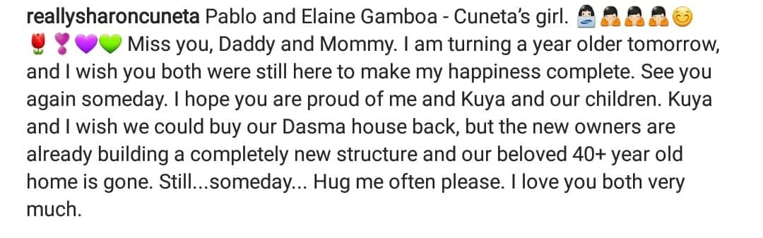 Namimiss ang mommy at daddy! Sharon Cuneta and brother hope to buy old home in Dasmariñas Village