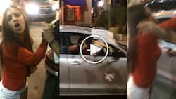 Drunk girl destroys a taxi after failing to hijack it and looks unstoppable