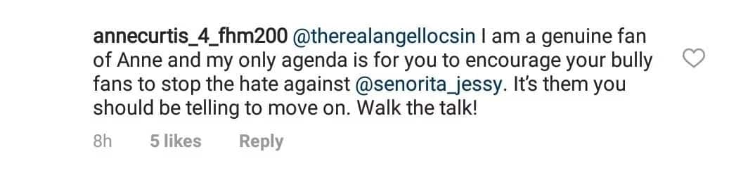 Angel Locsin slams netizen who told her to tell her fans to stop bashing Jessy Mendiola