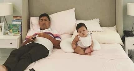 Vic Sotto caught on camera watching TV with Baby Tali in her awesome room