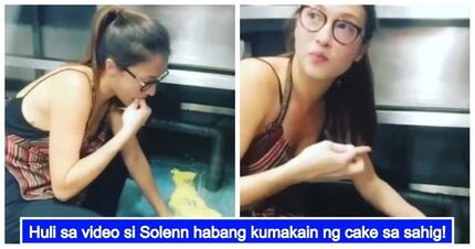 Walang arte! Solenn Heussaff, gets caught on video eating cake that fell on the floor