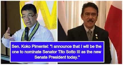 Senator Tito Sotto III nominated by Senator Koko Pimentel III as he stepped down as 'Senate President'