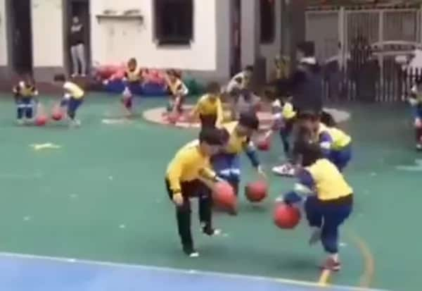 Chinese toddlers incredible basketball dance