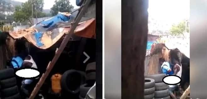 Man Records A Couple Romping At A Car-Wash