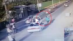 Motorcycle driver carelessly overtakes a car but gets his karma