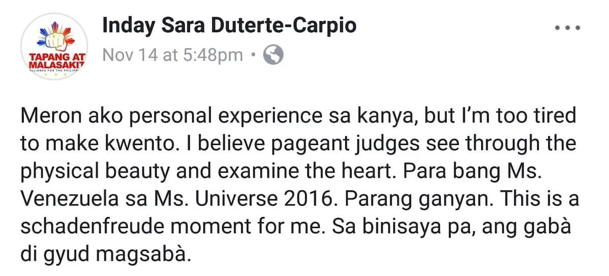 Inday Sara Duterte reacts to Mariel de Leon losing the Miss International 2017 pageant