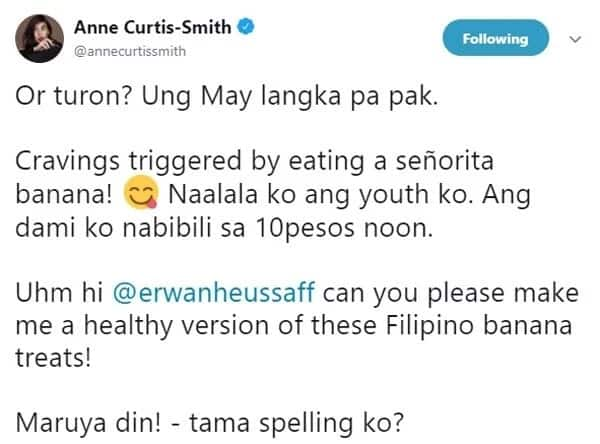 'Cravings triggered by eating a señorita banana' Anne Curtis starts craving for native Filipino delicacies