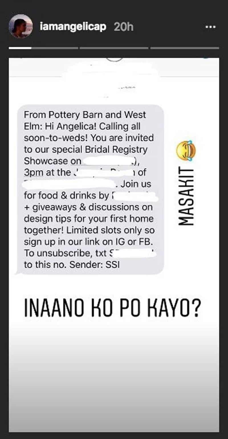 Angelica Panganiban nasaktan sa pang-okray ng mga taong nagpadala sa kanya ng bridal showcase invitation